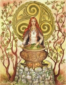 In a fit of rage, crazy jealous genius Dian Cecht killed his son. As Airmid wept over the body of her brother, his corpse sprouted all of the medicinal plants of the world. She gathered these up and became the world's first herbalist, and the goddess of healing!