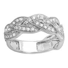 Elora 14k White Gold 5/8ct TDW Round Diamond Anniversary Wedding Ring (H-I, I1-I2) (White Gold - Size 9), Women's