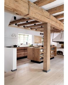 Current kitchen design for the year 2016 - 35 kitchen pictures - rustic kitchen modern country kitchen made of wood - Beautiful Kitchen Designs, Beautiful Kitchens, Kitchen Ikea, Kitchen Wood, Kitchen Sink, Kitchen Island, Hickory Kitchen, Log House Kitchen, Barn Kitchen