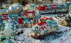 Mont-Tramblant in Quebec,Canada is a small village for ski lovers and is known for the famous Mont-Tremblant Ski Resort. Located in the Laurentian mountain . O Canada, Canada Travel, Banff Canada, Canada Trip, Ottawa, Quebec Winter Carnival, Stations De Ski, Discover Canada, Skier