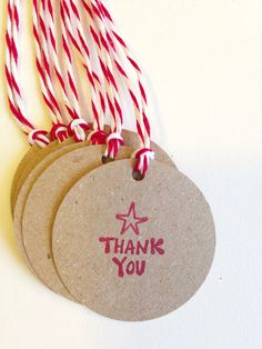6 KRAFT with RED Thank You HOLIDAY Gift Tags round 1.5 by PNWpaper