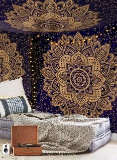 Mesmerizing medallion tapestry crafted in soft woven cotton. Instantly adds a unique touch of boho charm to any living space or dorm room. Doubles as a beach or picnic blanket and is festival-friendly Hippie Bedding, Bohemian Bedspread, Boho Tapestry, Tapestry Bedroom, Tapestry Wall Hanging, Bohemian Fabric, Mandala Mural, Mandala Tapestry, Large Tapestries