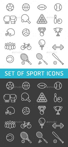 Set of Sport Icons  — PSD Template