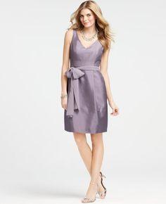 Ann Taylor Silk Dupioni V-Neck Dress in viola $150