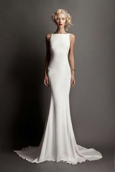 """Wedding Dresses Simple Elegant Classy If you are a bride that wants a simple, but gorgeous wedding gown, then consider looking for wedding dresses that live up to the theory """"Less is MoreR… Elegant Dresses, Pretty Dresses, Formal Dresses, Elegant Gown, Simple Dresses, Bridal Gowns, Wedding Gowns, Wedding Ceremony, Reception Gown"""