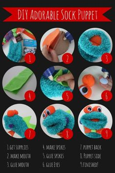 Adorable DIY Monster Sock Puppet. Fun craft for kids.: