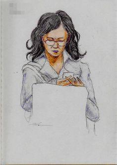 赤い眼鏡のお姉さん It is a sketch of the woman with the red glasses.  I drew on the train going to work.