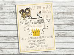 Where the Wild Things Are Birthday Invitation Wild things