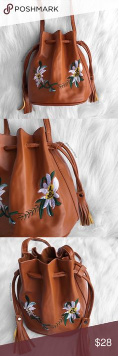 "❤️SALE❤️ floral embroidered bucket crossbody bag •dimensions: height: 8"". dimensions of bottom: 7"" x 5""  •features: has an adjustable shoulder strap  •no trades Daisys Boutique Bags Crossbody Bags"