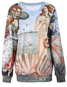 Green Painting The Birth of Venus Print Sweatshirt US$31.97