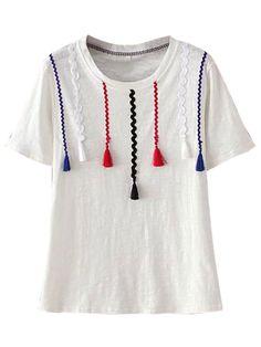 Buy White Tassel Detail Short Sleeve T-shirt from abaday.com, FREE shipping Worldwide - Fashion Clothing, Latest Street Fashion At Abaday.com
