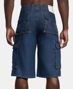 4458cb1eb True Religion Men s Cargo Denim Shorts - Blue 29