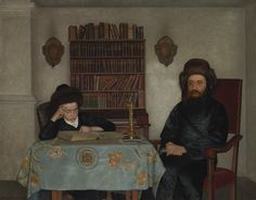 Isidor Kaufmann (1853-1921) Rabbi with a young student, oil on panel, 53,3 x 68,3cm.