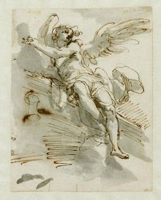 Gaetano Gandolfi (1734/ 1802), Angelo, ca. 1764, disegno a penna e inchiostro bruno, acquerello grigio, tracce di matita su carta bianca, Milano, Museo Poldi Pezzoli Figure Painting, Figure Drawing, Painting & Drawing, Life Drawing, Drawing Sketches, Art Drawings, Renaissance Kunst, Classic Paintings, Art Studies