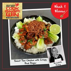Presenting to you our first weekly winner of the #CookSnapWin2017 contest: Bernadette Hendry! Her amazing Sweet Thai Chicken with  Crispy Fried Ginger stole everyone's hearts - and tastebuds!  Check out her recipe here: http://bit.ly/BernadetteHendry_Recipe