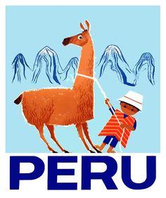 Vintage Child and Llama Peru Travel Poster,peru, llama, guanaco, vicuna, andes, andean, vintage poster, inca, machu picchu, cusco, ephemera, retro,peruvian travel,peruvian poster