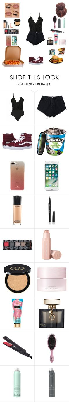 """""""All Black #6"""" by livstephanovichi ❤ liked on Polyvore featuring Vans, Masquerade, Kate Spade, MAC Cosmetics, Marc Jacobs, Hot Topic, Puma, Gucci, SUQQU and Thairapy365"""