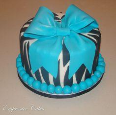 Empressive Cakes: Zebra Print cake with Turquoise bow