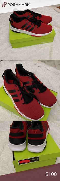 Adidas neo red and black cloud foam racer 13 Rare sold out color and size. Sports inspired sneakers by Adidas. adidas Shoes Athletic Shoes