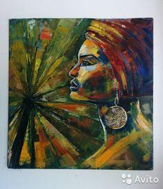 Картина маслом, африка, девушка, пальмы, масло, живопись