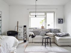 A cool black and white Swedish apartment