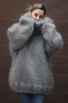 10 Strands Hand Knit Mohair Sweater Gray Fuzzy Turtleneck Jumper Jersey 2 6 KG | eBay