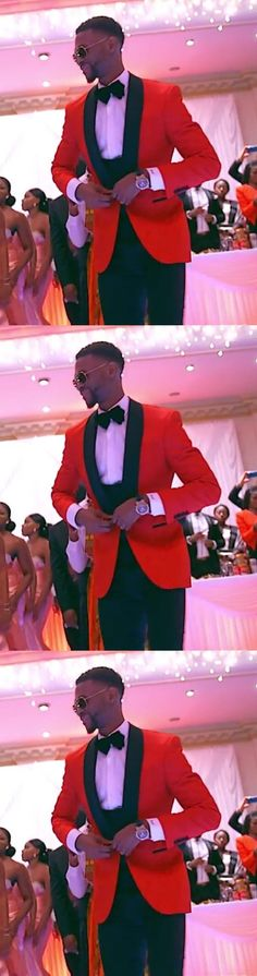 Classic Style One Button Red Groom Tuxedos Groomsmen Men's Wedding Prom Suits Bridegroom (Jacket+Pants+Vest+Bow Tie)