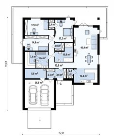 Проект солидного одноэтажного дома с большим гаражом и с сауной S3-225-3 (z199 v1). План 1. Shop-project New House Plans, Building A House, New Homes, Floor Plans, Houses, How To Plan, Projects, Homes, Log Projects