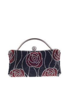 Clasp Lock Evening Clutch with Beading Flower