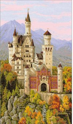 Riolis Neuschwanstein Castle Germany - Cross Stitch Kit. This cross stitch kit includes 14 count Aida Zweigart fabric, Safil wool/acrylic threads (30 colors), n
