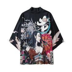 Bebovizi Japanese Style Cat Samurai Kimono Streetwear Men Women Cardigan Japan Harajuku Anime Robe Anime Clothes 2021 Summer - 6034 / XXL