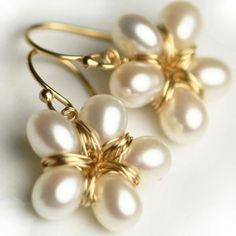 Flores perla pendientes pendientes de oro llenado joyas