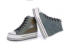 Chic Women Girl Lace Up Platform High Top Canvas Sneakers Rivets Lady Shoes