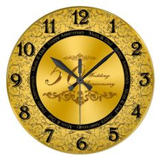 "50th Wedding Anniversary Wall Clock:    A Digitalbcon Images Design featuring a gold and black color theme with a variety of custom images, shapes, patterns, styles and fonts in this one-of-a-kind ""Golden Wedding Anniversary"" Clock. This elegant and attractive design comes complete with special text lettering ""Happy Anniversary - Mom & Dad and a special 50th Wedding Anniversary Insignia on the clock face.   #50thweddinganniversary #goldwallclock #wallclock #top50onzazzle"