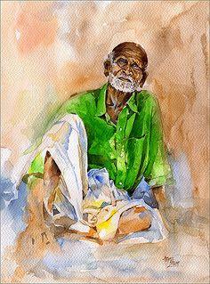 - Watercolor by Abdul Salim Kochi - Artist / Illustrator Art Watercolor, Watercolor Landscape Paintings, Watercolor Portraits, Painting People, Figure Painting, Composition Painting, L'art Du Portrait, Indian Art Paintings, Figure Sketching