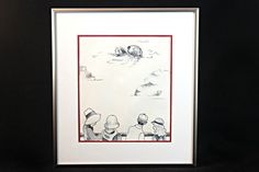 Framed Original Ink Drawing, People Watching Sea Otter Ink Illustration, Framed Sea Otter Drawing, Small Space Decor, Children's Decor