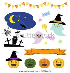 Collection of halloween elements / Vector EPS 10 illustration  - stock vector