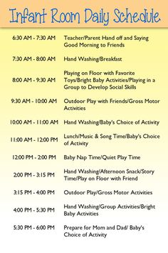 Infant Day care schedule