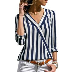 ZOGAA Women Striped Blouse Shirt Long Sleeve Blouse V-neck Shirts Casual Tops Blouse Chemisier Femme Blusas Mujer de Moda 2019 GoodThingMyThing Striped Long Sleeve Shirt, Long Sleeve Tops, Summer Dress, Spring Summer, Stripes Fashion, Casual Tops, Casual Shirts, Shirt Blouses, Blouses For Women