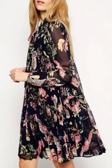 Full Floral Print Long Sleeve Chiffon Dress