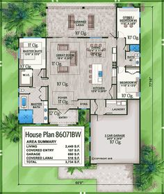 Plan Lovely 3 Bed One Story House Plan With Covered Lanai 4 Bedroom House Plans, House Plans One Story, One Story Homes, Dream House Plans, Story House, Modern House Plans, House Floor Plans, Home Design Floor Plans, Architectural Design House Plans