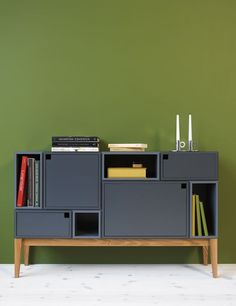 """This storage system from Swedish company Zweed has it all. It is elegant, modular, functional and comes in a variety of colors. The line, called  Citti, allows you to create your own shelving unit, as tall and wide as you like (or as your space allows). You can also design your item with or without doors and drawers for the compartments."""