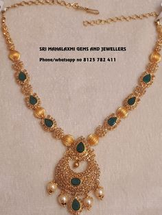Sri Mahalaxmi jewellers use fine quality of uncut Diamonds to get the most rich looks in your jewellery. Presenting here is a Pure Uncut diamonds Emeralds Necklace 37 gm . Visit or call on 8125 782 411 for full range at wholesale prices. Gold Bangles Design, Gold Earrings Designs, Gold Jewellery Design, Necklace Designs, Gold Jewelry, Emerald Jewelry, Antique Jewelry, Fine Jewelry, Gold Necklace Simple