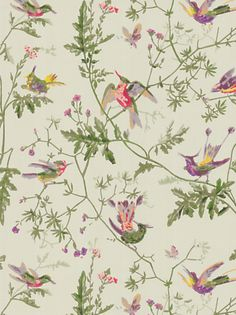 Hummingbird wallpaper (green) by Cole and Son - gorgeous for pink and green rooms, but too expensive!