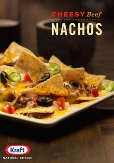 Nachos with Cheesy Beef. Find everything you're looking for in a plate of nachos. Our Nachos with Cheesy Beef are perfect for game-day—or any day, for that matter. Beef Nachos, Cheesy Nachos, Nachos Chips, Mexican Food Recipes, Beef Recipes, Cooking Recipes, Mexican Dishes, I Love Food, Good Food