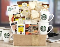 Starbucks and Tazo Eye Opener by Wine Country Gift Baskets via Starbucks Gift Baskets, Coffee Gift Baskets, Family Gift Baskets, Wine Country Gift Baskets, Starbucks Mugs, Gourmet Gifts, Food Gifts, Spicy Ginger, Coffee Franchise