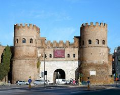 The Porta San Paolo (San Paolo Gate) is one of the southern gates in the 3rd-century Aurelian Walls of Rome, Italy. The Via Ostiense Museum (museo della Via Ostiense) is housed within the gatehouse. It is in the Ostiense quarter; just to the west is the Pyramid of Cestius, an Egyptian-style pyramid, and beyond that is the Protestant Cemetery. The original name of the gate was Porta Ostiensis