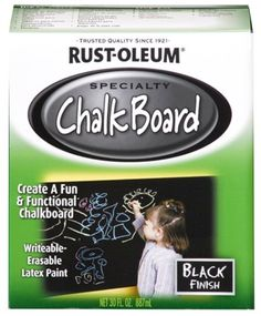 I just bought: Rust-Oleum 206540 Chalkboard Brush-On, Black, 30-Ounce 206540 Color: Black Features: -Chalkboard paint. -Material: Latex. -Actual writable, erasable finish via http://www.chalkboardfridge.com