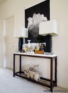 Amazing narrow console table for your modern hall. Stylish decoration, the narrow console table it is the highlights of the room. Entry Tables, Sofa Tables, Entrance Table, House Entrance, Entry Table Diy, Modern Entry Table, Console Modern, Modern Sofa Table, Modern Hall