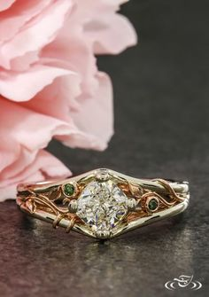 Two Tone Gold Wild Vine Engagement Ring. Green Lake Jewelry 107903